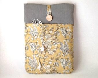 Floral Macbook Air 13 Case Cord Pocket, Mac Book air 13. 3 inch Sleeve, Women's Laptop Bag, Ladies Tablet Cover, Vintage Yellow Wild Flowers