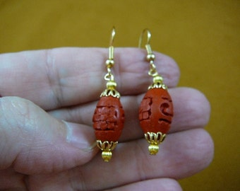 Earrings red OVAL CINNABAR pierced French wire wood carved bead beads EE400-27