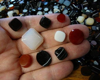 10 ounces assorted small black onyx carnelian milk glass cabochons jewelry making unmounted gem stones oval round  (CL-13)