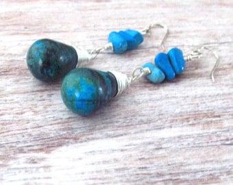 Boho Gemstone Earrings - Gemstone Boho Earrings - Bohemian Turquoise Earrings - Chryocolla Earrings - Healing Stone Boho Earrings - Bohemian