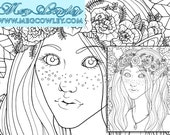 Fantasy Colouring Book Page - 'Elf'. Printable digital download page perfect for coloring, scrapbooking, cardmaking, gifting + more!