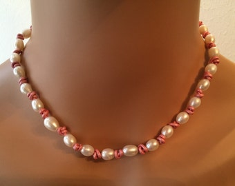 Pink Leather  and Pearl Necklace