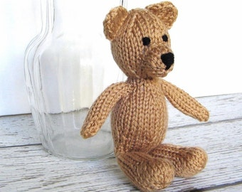 Little Stuffed Bear, Hand Knit Teddy Bear, Small Plush Stuffed Animal, Soft Knit Animal, Ready To Ship, New Baby Gift, Child Nursery Toy 8""