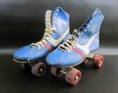 """Vintage """"Official Roller Derby"""" Roller Skates in Blue / Retro Urathane Wheeled Roller Skates"""