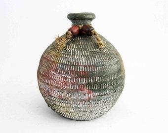 Vintage Stoneware Studio Pottery Vase with Textured Pattern. Circa 1960's.
