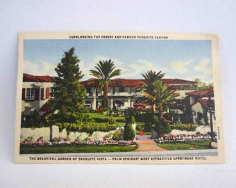 Vintage Postcard from Tahquitz Vista Hotel, Palm Springs CA. Circa 1940's.