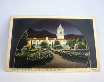 Vintage Postcard. Night Scene in the Gardens, El Mirador, Palm Springs CA. Circa 1940's.