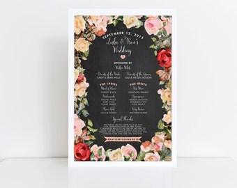 Wedding Program Sign  Vintage Inspired Wedding Program  Wedding Party Sign  Chalkboard Program Sign  Large Program Sign  Rustic