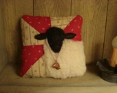 Primitive Black Face Sheep On Antique Quilt Pillow ~ Original Folk Art