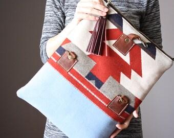 Leather fold over clutch, fold over bag, fold over purse,  wool and tan leather clutch with leather charm