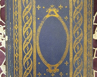 Ornate Shabby Antique Victorian Blue and Gold French Book from Rustysecrets