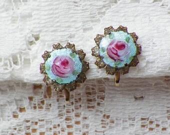 Vintage Light / Pastel Aqua Blue Guilloche Enamel with Pink Roses Rhinestone Screw Back Earrings, Clear Rhinestones, Shabby Rose, Gold Tone