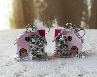 Handmade Vintage Inspired Miniature Pink Putz House Pierced Earrings, Mixed Media, Paper, Silver Glitter, White Snow, Mini Winter Village