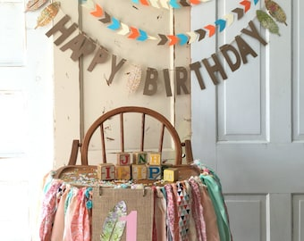 Girls High Chair Banner. First Birthday Party Supplies.  BOHO Chic High Chair Banner with Burlap Flag. Custom COLOR garland