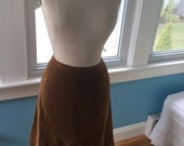 Vintage 1960s Majestic Brand Velour Cognac Brown Skirt