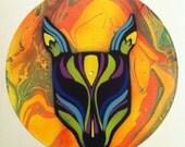 Slow Magic  - Original  Psychedelic Portrait Street Art on Vinyl Record