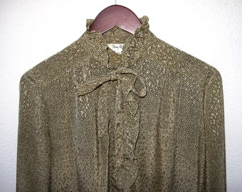 80s Vintage Ruffled Secretarial Blouse Pia Pluck Silky Polyester .. Ruffles  .. Olive Brown Dots size M L 41 Bust