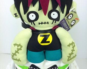 Zombie boy diaper cake, zombie baby gift, skulls baby gift, halloween centerpiece, walking dead gift, diaper cakes for boys, diaper cake