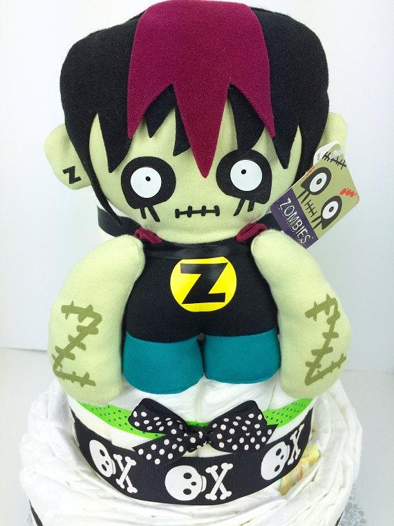 Zombie boy diaper cake zombie baby gift skulls baby gift