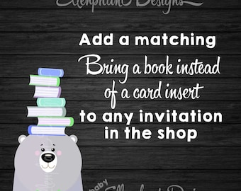 Matching Baby Shower book request, Bring a book instead of a card insert, DIY printable, digital file, to match any invitation in the shop