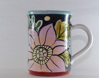 Handpainted Pottery Mug, Handmade on wheel, floral coffee mug