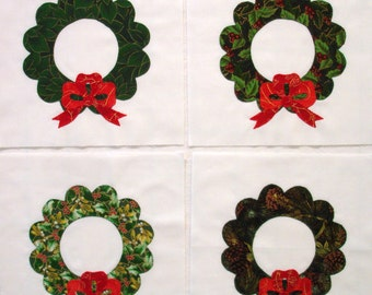 Christmas Wreath with a Red Bow Appliqued Quilt Blocks