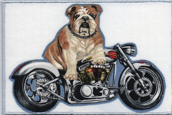Bulldog on a Harley Quilted Fabric Postcard