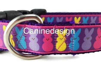 Easter Dog Collar, Purple Bunny, 1 inch wide, adjustable, quick release, metal buckle, chain, martingale, hybrid, nylon