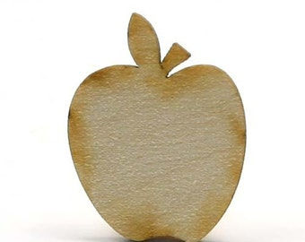 Unfinished Wood Apple - 3 inches tall by 2-1/2 inches wide and 1/8 inch thick wooden shape (LC-APPL05)