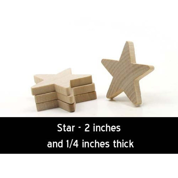 Unfinished Wood Star - 2 inches by 2 inches and 1/4 inch