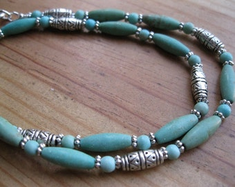 Turquoise Magnesite, Pewter Necklace, Native American Necklace, Southwestern Necklace, Mens Tribal Necklace, Mens Turquoise Necklace,