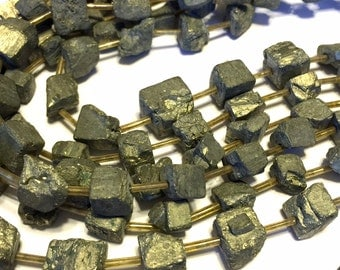 Pyrite LARGE natural rough cube beads 7 inches