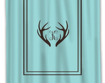 Custom Personalized Deer Antler Simplicity Shower Curtain -Simple Classic Border - Standard or ExLong