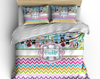 Personalized Custom Never Land theme Bedding - Available Toddler Twin, Queen, King size and Duvet Cover and Comforter Options