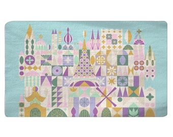 Custom Plush Fuzzy Small World Theme Area Rug -Nursery Rug-Size 48x30, 60x48, 96x48-Other Colors available