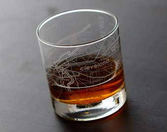 Cleveland Maps Rocks Glass