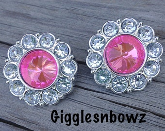 Rhinestone Buttons- 2pc Bright Pink and Clear Acrylic Rhinestone Buttons 25mm- Flower Centers- Diy Headband Supplies- Hot Pink Rhinestone