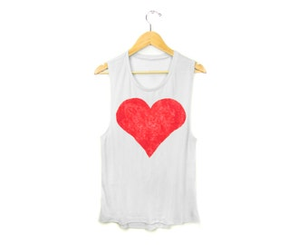 Red Heart Tank - Scoop Neck Flowy Muscle Tee Tank in White and Red - Women's Size S-2XL
