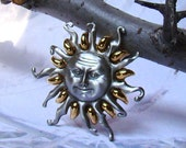 Happy Sun Face Brooch Two Tone Beauty Here Comes the Vintage Sunshine Superman