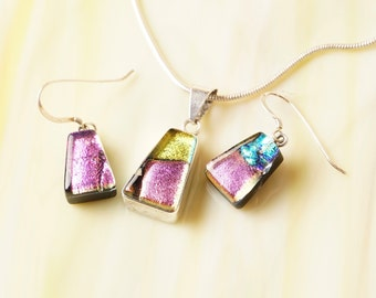 Solid .925 Sterling Silver Dichroic Fused Glass Necklace Earrrings ...matching set...