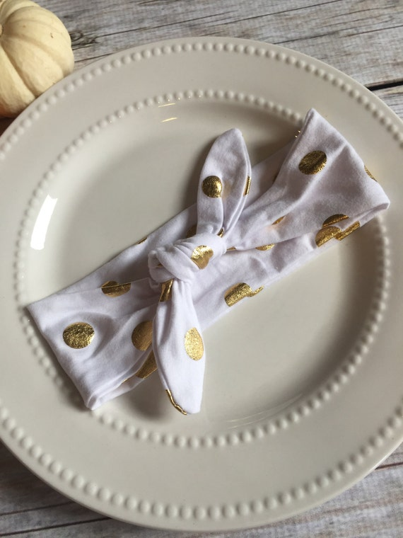 Gold polka dot knotted tie headband