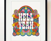 HELL YEAH psychedelic print poster