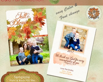 Fall Blessings Fall Photo Card, ***Instant Download*** Autumn Photo Card