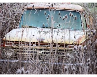 Frosty Ford Truck Digital download / Vintage Ford / brown field / rustic chippy / Man Cave / Photograph / Art download / Home Decor