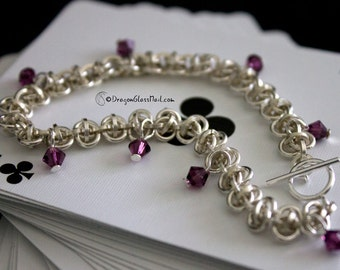 Silver Bells Chainmaille Bracelet, with Amethyst Swarovski Crystal