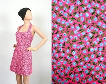 Vintage 90s Pop Art Floral Mini Dress / Neon Pink Tiny Flower Print Dress/ 1990s Grunge Revival Halter Dress / Extra Small / Small