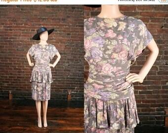50% OFF Vintage 80s Peplum Ruched Dress Avant Garde Floral Print Dress 1980s Hourglass Wiggle Dress (M)