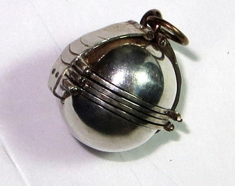 Mexico Sterling Silver 6 Photo Sphere Locket Pendant 925 Round 20g