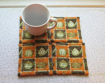 tea kettle hand quilted  set of mug rugs coasters