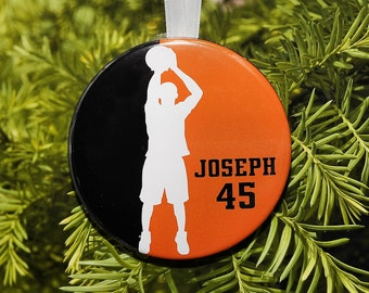 Basketball Player Silhouette Christmas Ornament - team colors - customized - C092